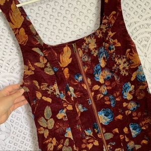 Free People Floral Corduroy Jumper Dress